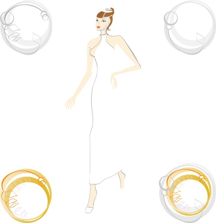 Bride in a hurry for the wedding. Logo of the wedding. Abstract ring. Vector