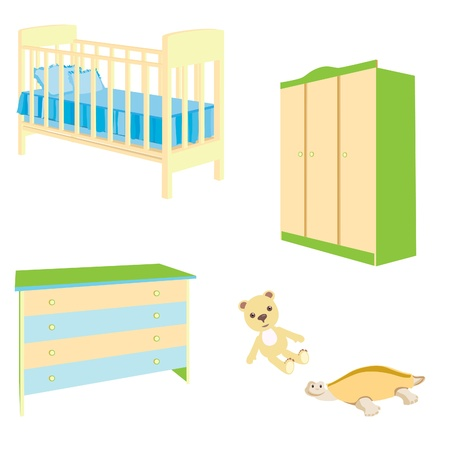 A set of baby furniture. Bedside table, a bed for the child. Vector