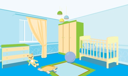 Childrens room for the boy. Room with a cradle, wardrobe, bedside table.