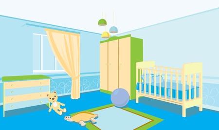 bedside: Habitaci�n de los ni�os para el ni�o. Habitaci�n con una cuna, armario, mesita.
