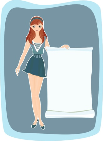 Girl with advertising. Banner for ads. Vector