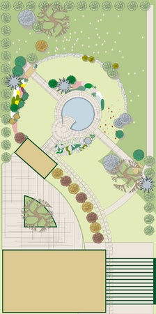 landscape architecture: Project and landscaping. Landscape Design Illustration