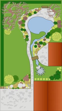 baum pflanzen: Projekt und Landschaftsbau. Landschaftsplanung Illustration