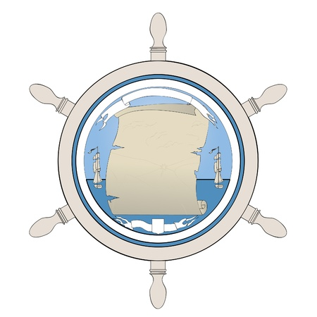 An old map showing a treasure. Ancient ship, steering wheel and the globe. Vector