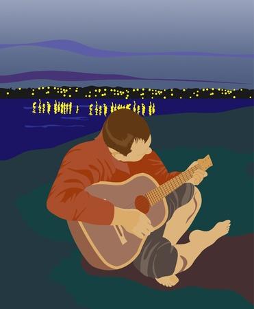 강둑: 강둑에 기타와 함께 남자. 자연과 병합합니다.