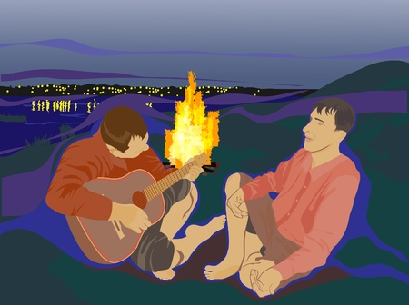 Sincere songs with a guitar. Friends in nature. Vector