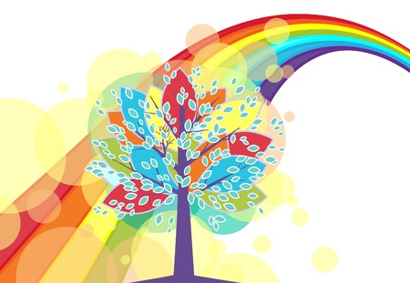 Colorful background with a rainbow. Tree against the background of the rainbow. Illustration