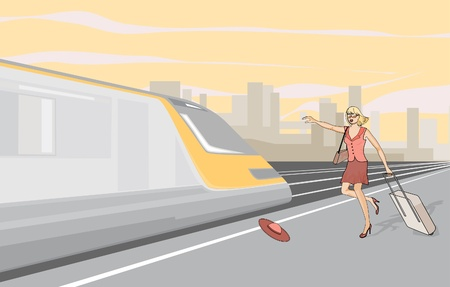 The girl missed the train. The girl ran behind the train. Illustration