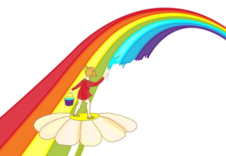 A child paints a rainbow. Childrens background with a bright rainbow. Vector