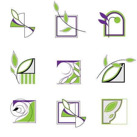 reforestaci�n: Conjunto de iconos en el medio ambiente. Logotipo con hojas.