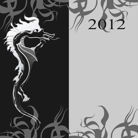 Background with a black dragon. The symbol of the new year. Vector