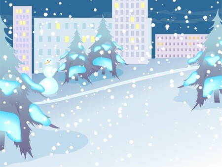 The urban landscape. Night city in snow. Vector