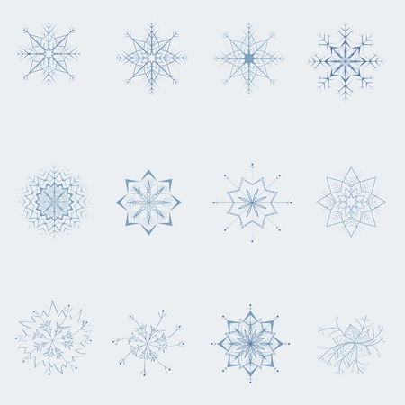 A set of snowflakes. Decorative snowflakes, stars and flowers. Stock Vector - 10995179