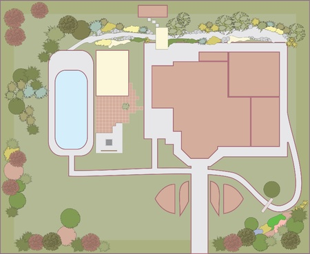 residential building: Planning of the plot in a residential building. Landscaping project.