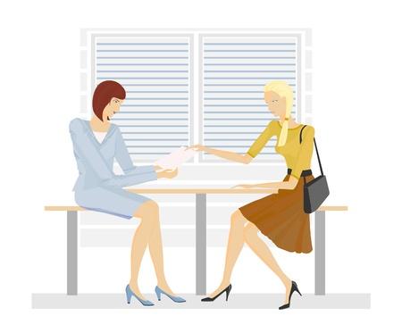 mujeres dinero: Momento de la transferencia de documentos en las manos de los trabajadores de oficina. La elaboraci�n del contrato. Vectores