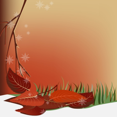 Background with the snow and leaves. Autumn abstraction. Vector