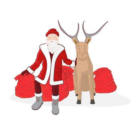 Santa Claus with reindeer and gifts. Holiday card for the new year. Vector