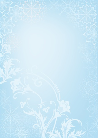 Wallpaper pattern with snow. Snowflakes on a blue background. Stock Vector - 11274305