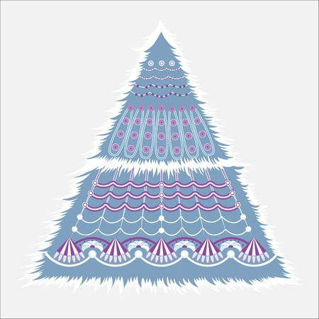 Christmas fir. The card with the symbol of the new year. Vector