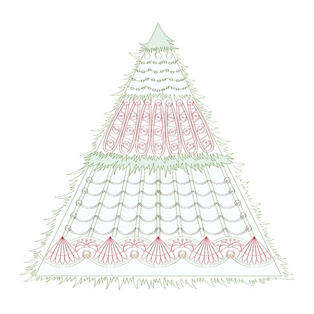 Holiday card with a Christmas fir. Background for the congratulations.  Vector