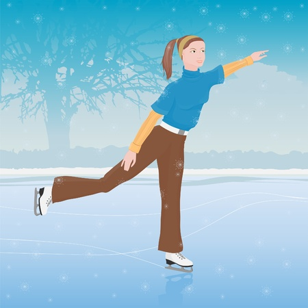 A woman skating. Athletic girl in the park. Vector