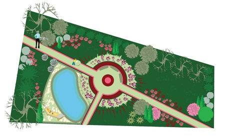 rose garden: The layout and landscaping of the site before the house. A place to relax with a swimming pool. Illustration