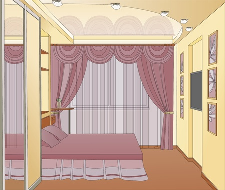 Bedroom interior in pink. Interior design. Vector