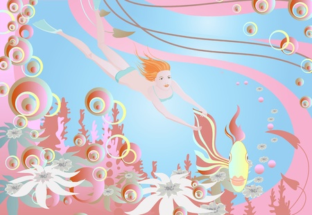 Woman swimming in goldfish. Happy girl in a magical kingdom. Vector