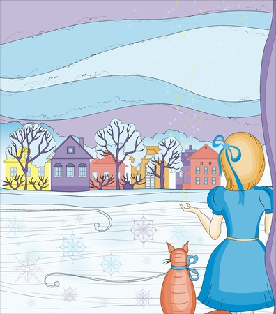Illustration of a girl in a New Years Eve. Christmas magic. Winter magic.