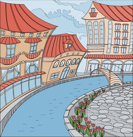 Fabulous city. Illustration of waterfront homes. Vector