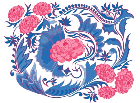 Ornament to paint tray. The traditional pattern for vintage fabrics, dishes.Dahlia. Vector