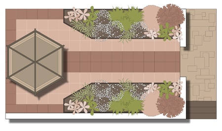 Example of landscaping patio. Area in front of a gazebo.Patio. Illustration