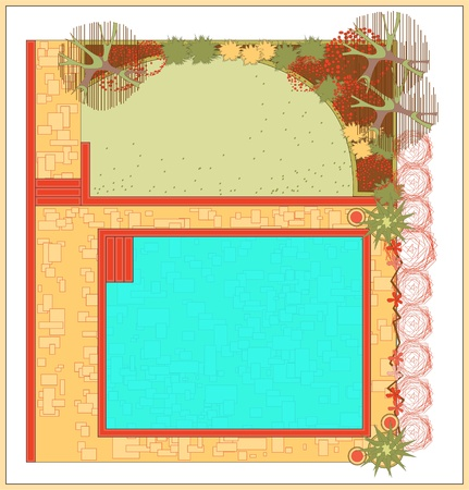 Area for recreation with a swimming pool. The project is a garden with a swimming pool. Vector