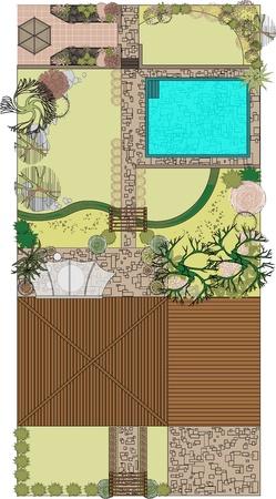 Aménagement paysager du projet avec patio et piscine. Zones de loisirs pour le jardin.