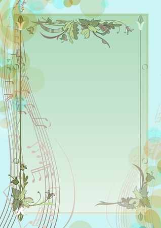 Spring background with notes. Floral branches the music of spring.