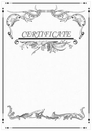 zertifizierung: Blank mit floralen Mustern. Das Zertifikat. Der Hintergrund f�r den Text.