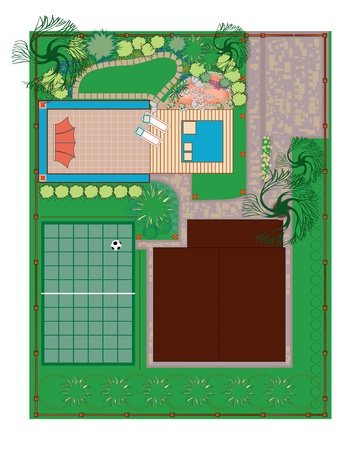 Homestead gardening project area. Recreation areas near the house.The project with a pond, alpine slide and playground. Vector