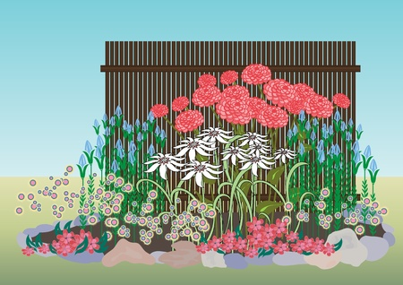 perennial: Example of creating a flower bed. Bright flower bed in front of the house. Designing the front of the house.