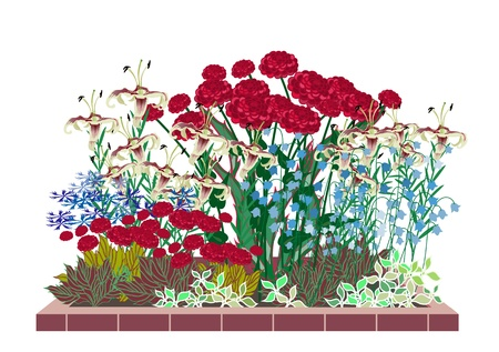 Flower garden with roses and lilies. Development of flower beds with roses.