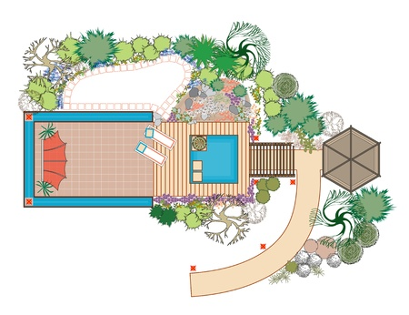 Area for recreation with a pond and alpine slide. Interesting seating area near the house. Rock garden with a pond. Vector