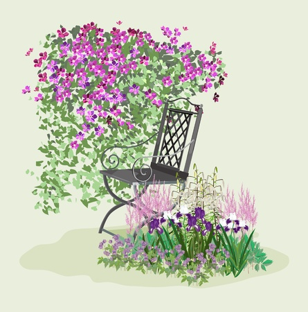 The island for relaxing in the garden. A place to relax among the flowers. Blooming paradise.