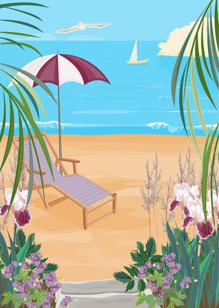 A great place to relax with a chaise longue. Kind of a tropical island with flowers. Illustration of the exotic coast.