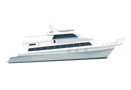 Figure of a modern yacht. Yacht for sea travel. Illustration