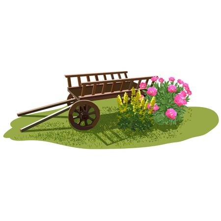 Antique design of a site for recreation. The cart with flowers in the sun on the site.Retro style in the landscape