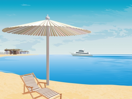 The marine landscape. Beach rest. Cruise on the sea. The background to the coast. Vector
