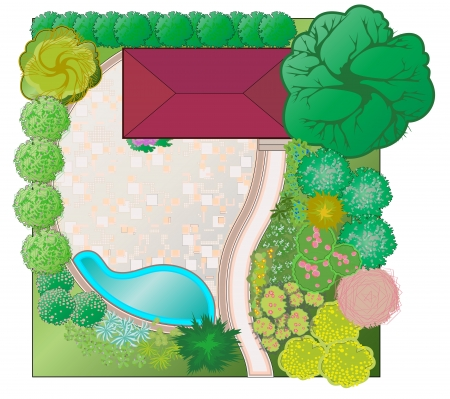 The project site for recreation in scale. Dendroplan platform near the gazebo.Landscaping project Stock Vector - 16017163