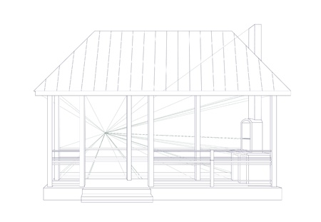 Drawing a gazebo for landscape design. Architectural sketch.