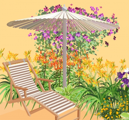 patio chair: Sunny day at the resort. Chaise among the flowers.
