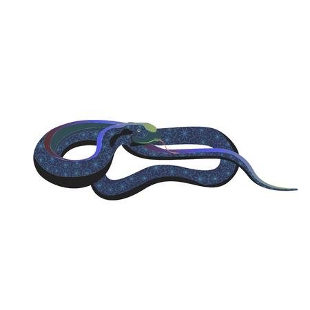 serpent noir: Symbole de la nouvelle ann�e - un serpent. No�l noir serpent. Serpent d�coratif. Illustration