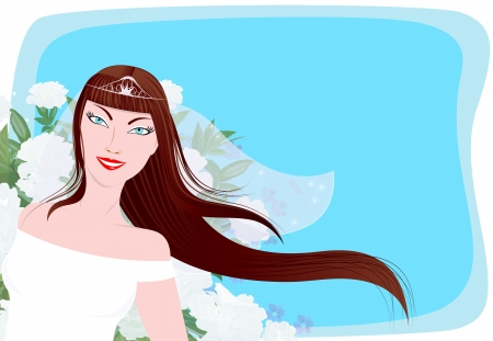 The banner with the bride. The bride with a background color. Happy bride.